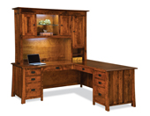 "Grant 78"" 8 Drawer L Desk with 3 Door Hutch Top"