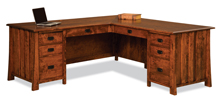 "Grant 78"" 8 Drawer L Desk with Unfinished Backside"