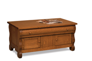 Old Classic Sleigh Enclosed Coffee Table with Drawer and Doors
