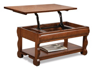 Old Classic Sleigh Open Lift Top Coffee Table with Counterweight