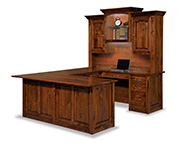 Victorian  10 Drawer U Desk with Hutch Top