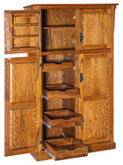 Spicy Mission 4 Door Pantry Cabinet with Rollout Shelves