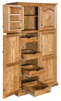 Spicy Lux Traditional Pantry Cabinet with Rollout Drawer