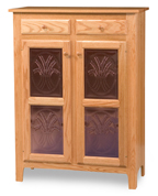 Classic Style 2-Door 2-Copper Panel with Drawer Pie Safe