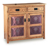 "Mission 38""h Pie Safe with  Drawer & Metal Inserts Door"