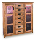 """Mission 50"""" Pie Safe with 7 Drawer & Metal Inserts Door"""