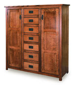 """Mission 50"""" Pie Safe with 7 Drawer & Raised Panel Door"""