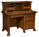 Breckenridge Single Pedestal Desk with Hutch