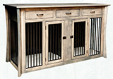 Caledonia Double Pet Cabinet with Drawers and Aluminum Slats