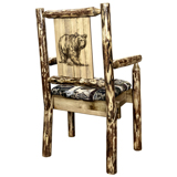Glacier Country Captain's Chair with Upholstery and Laser Engraved Design