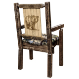 Homestead Captain's Chair with Upholstery and Laser Engraved Design