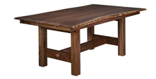 Vintage Live-Edge Trestle Dining Table