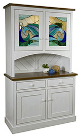 Ocean Front 2 Door Hutch with Leaded Glass
