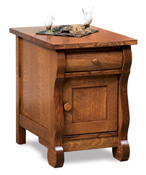 Old Classic Sleigh Enclosed End Table with Drawer & Door