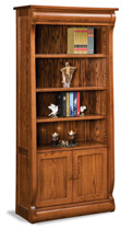 Old Classic Sleigh 4 Shelf 2 Door Bookcase