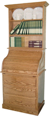 "Heirloom 30"" Full Pedestal Roll Top Desk with Hutch"
