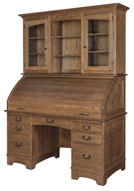 Noble Mission Rolltop Desk with Hutch