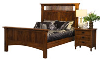 Arts & Crafts Mission Spindle Panel Bed