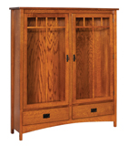 Arts & Crafts Mission 1 Drawer 2 Door Bookcase