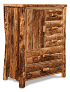 Fireside Rustic 5 Drawer 1 Door Armoire