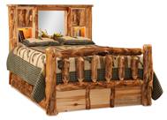 Fireside Rustic Bookcase Bed with 6 Storage Drawer