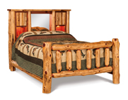 Fireside Rustic Bookcase Bed with Spindle Footboard