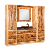 Fireside Rustic Bathroom Vanity with Towers and Medicine Cabinet