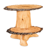 Fireside Rustic Double Slab Stump End Table