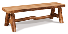 Fireside Rustic Flat Bench with Live Edge