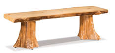 Fireside Rustic Flat Bench with Live Edge and Stump