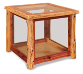 Fireside Rustic Glass End Table