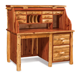 Fireside Rustic Single Pedestal Rolltop Desk