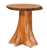 Fireside Rustic Stump End Table Top with Bark on Stump