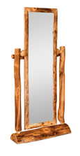 Fireside Rustic Half Log Floor Mirror