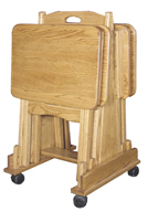 Folding TV Tray Set (4 Trays & Cart)