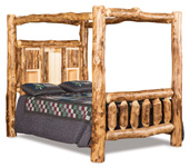 Fireside Rustic Bookcase Canopy Bed