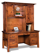 Artesa Double Pedestal 5 Drawer Desk with Hutch Top