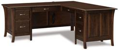 """Ensenada 78"""" 6 Drawer L Desk with Unfinished Backside"""