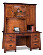 Grant Double Pedestal 7 Drawer Desk with Hutch Top