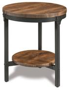 "Houston 22"" Round Steel & Wood End Table"