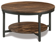 """Houston 38"""" Round Steel & Wood Solid Top Coffee Table"""