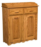 Double Large Tiltout Trash Bin with Top Drawer