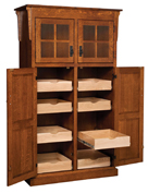 Heritage Mission 4-Door Pantry with Rollout Shelf Cabinet