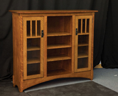 Mission Display Bookcase with Seedy Glass Small