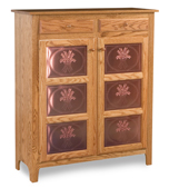 Classic Style 2-Door 3-Copper Panel with Drawer Pie Safe