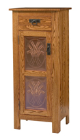 Mission Style 1-Door 2-Copper Panel with Drawer Pie Safe
