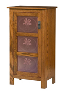 Mission Style 1-Door 3-Copper Panel Pie Safe