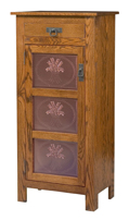 Mission Style 1-Door 3-Copper Panel with Drawer Pie Safe
