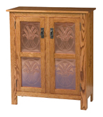 Mission Style 2-Door 2-Copper Panel Pie Safe
