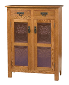 Mission Style 2-Door 2-Copper Panel with Drawer Pie Safe